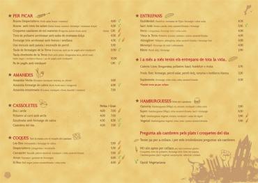 Interior Carta menú